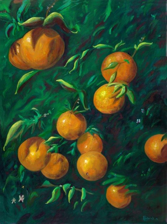 Oranges, 30 x 40 .Limited Edition Giclee. Framed. $750.00. 2014