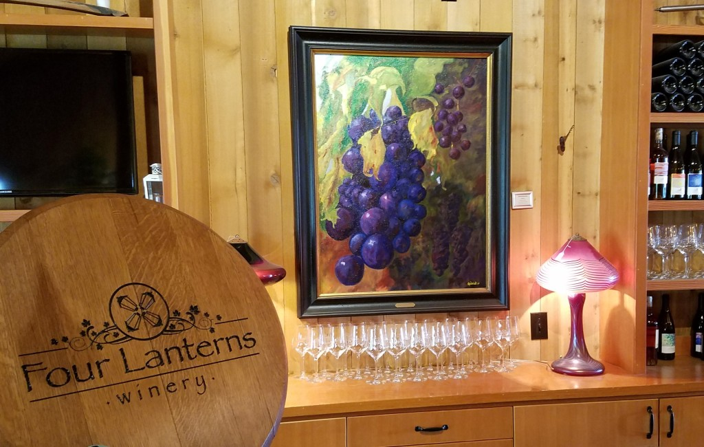 """Artist Roderick Reeds, """"Grapes!"""" Painting is Part of the Four Lanterns Winery Permanent Collection."""