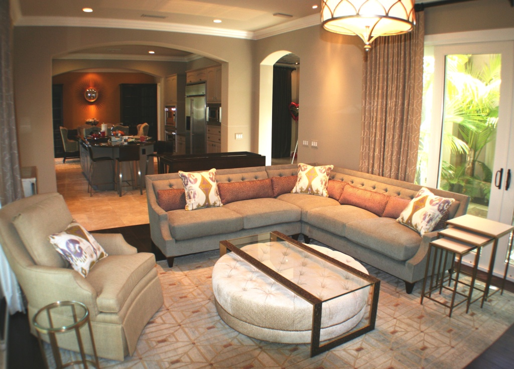 Custom designed furniture, and Interior spaces. Newport Coast. Note; Ottoman slides under table for storage.