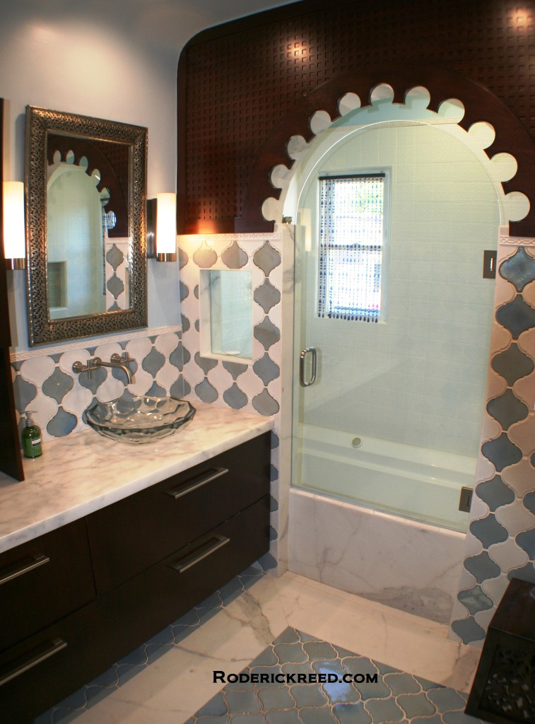 Bathroom in Moroccan Style.Custom woodwork,tile and cabinets. Roderick Reed