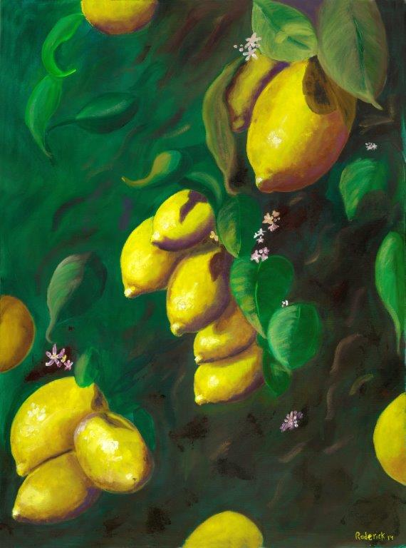 Lemons! Original- oil on canvas. 30 x 40 framed. $1500.00. 2014