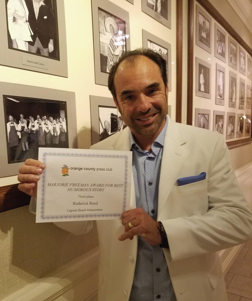 Roderick Reed,2016 Recipient of the Marjorie Freeman Award given at the Balboa Bay Club Gala, Newport Beach