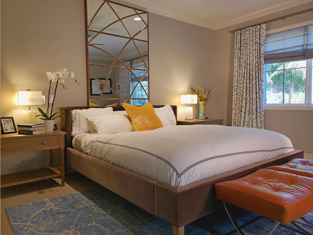 Master Bedroom-After. This Newport Beach Master Bedroom is crowned by a custom Dior Mirror.