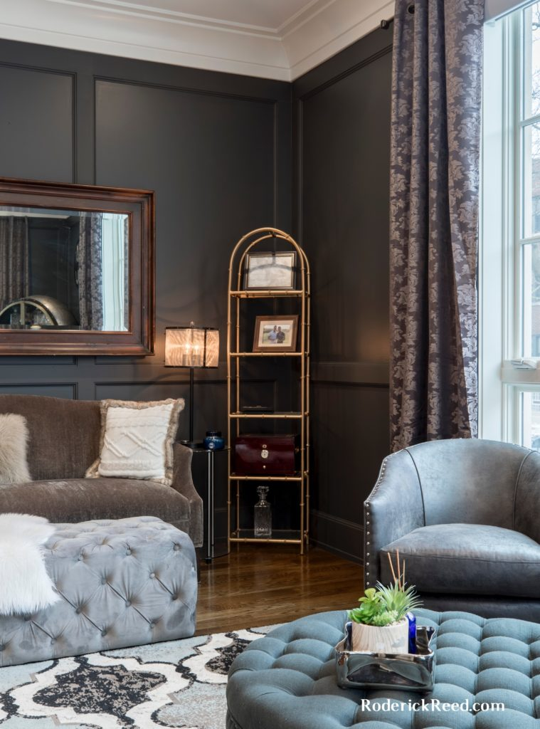 The Contemporary Study. A gentlemen's study or office has traditionally been a distinguished masculine place to conduct business or relax. Here using lighter colors and contemporary fabrics this space is now up to date. Even the the stain color is down a notch, its still dark but boasts a a gray tint on traditional walnut paneling.